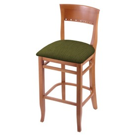 """3160 30"""" Bar Stool with Medium Finish and Graph Parrot Seat"""