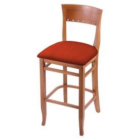 "3160 30"" Bar Stool with Medium Finish and Graph Poppy Seat"