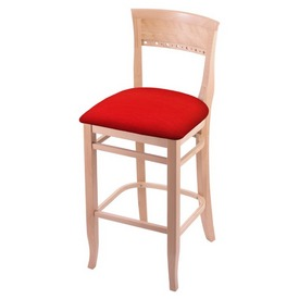 """3160 30"""" Bar Stool with Natural Finish and Canter Red Seat"""