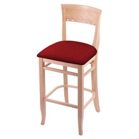 """3160 30"""" Bar Stool with Natural Finish and Graph Ruby Seat"""
