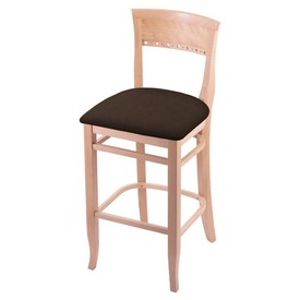 """3160 30"""" Bar Stool with Natural Finish and Rein Coffee Seat"""