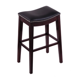 3210 Lynn - Saddle Style Stool in Espresso Frame Finish and Black Vinyl Upholstery