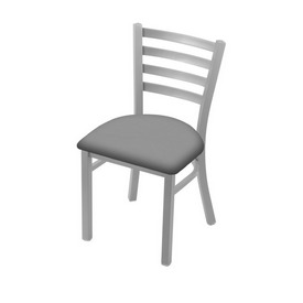 """400 Jackie 18"""" Chair with Anodized Nickel Finish and Canter Folkstone Grey Seat"""