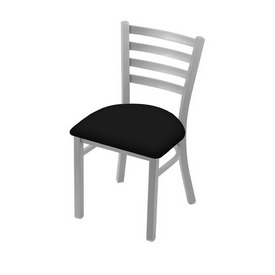 """400 Jackie 18"""" Chair with Anodized Nickel Finish and Black Vinyl Seat"""