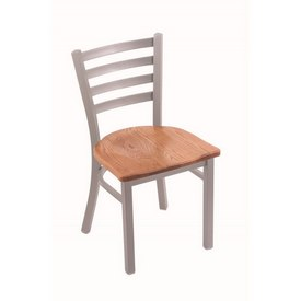 """400 Jackie 18"""" Chair with Anodized Nickel Finish and Medium Oak Seat"""