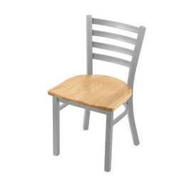 """400 Jackie 18"""" Chair with Anodized Nickel Finish and Natural Oak Seat"""