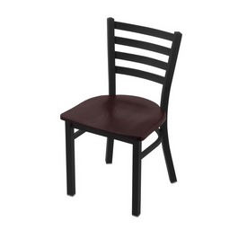 """400 Jackie 18"""" Chair with Black Wrinkle Finish and Dark Cherry Oak Seat"""
