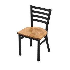 "400 Jackie 18"" Chair with Black Wrinkle Finish and Medium Maple Seat"