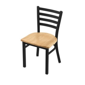 """400 Jackie 18"""" Chair with Black Wrinkle Finish and Natural Oak Seat"""