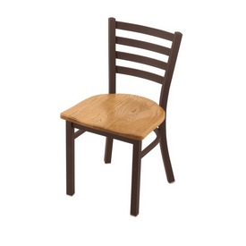 "400 Jackie 18"" Chair with Bronze Finish and Medium Oak Seat"
