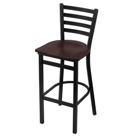 400 Stationary Stool with Black Wrinkle Finish and Dark Cherry Oak Seat