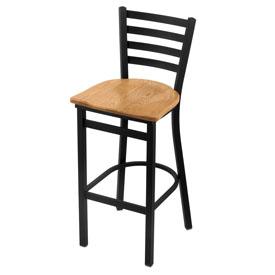 400 Stationary Stool with Black Wrinkle Finish and Medium Oak Seat