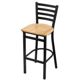 400 Stationary Stool with Black Wrinkle Finish and Natural Oak Seat