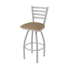 410 Jackie Swivel Stool with Anodized Nickel Finish and Canter Thatch Seat