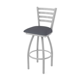 410 Jackie Swivel Stool with Anodized Nickel Finish and Canter Storm Seat