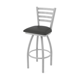 410 Jackie Swivel Stool with Anodized Nickel Finish and Canter Iron Seat