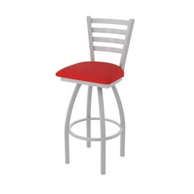 410 Jackie Swivel Stool with Anodized Nickel Finish and Canter Red Seat