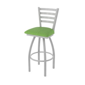 410 Jackie Swivel Stool with Anodized Nickel Finish and Graph Parrot Seat