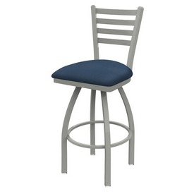410 Jackie Swivel Stool with Anodized Nickel Finish and Rein Bay Seat