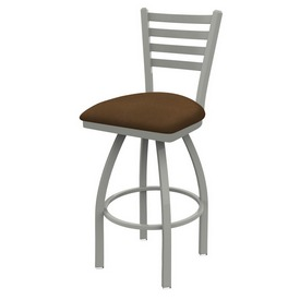 410 Jackie Swivel Stool with Anodized Nickel Finish and Rein Thatch Seat