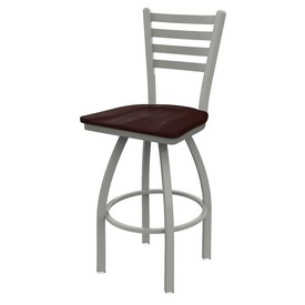 410 Jackie Swivel Stool with Anodized Nickel Finish and Dark Cherry Maple Seat