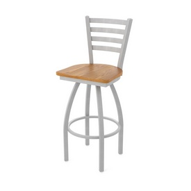 410 Jackie Swivel Stool with Anodized Nickel Finish and Medium Oak Seat