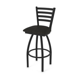 """410 Jackie 36"""" Swivel Bar Stool with Black Wrinkle Finish and Canter Espresso Seat"""