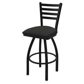 "410 Jackie 36"" Swivel Bar Stool with Black Wrinkle Finish and Canter Iron Seat"