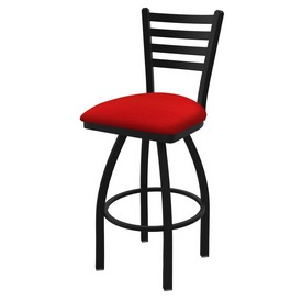 "410 Jackie 36"" Swivel Bar Stool with Black Wrinkle Finish and Canter Red Seat"