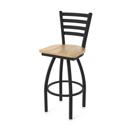 "410 Jackie 36"" Swivel Bar Stool with Black Wrinkle Finish and Natural Oak Seat"