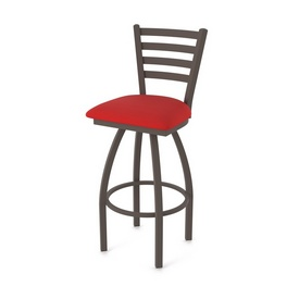 410 Jackie Swivel Stool with Bronze Finish and Canter Red Seat