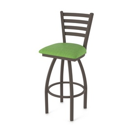 410 Jackie Swivel Stool with Bronze Finish and Graph Parrot Seat