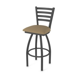 410 Jackie Swivel Stool with Pewter Finish and Canter Thatch Seat