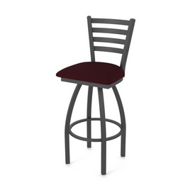 410 Jackie Swivel Stool with Pewter Finish and Canter Bordeaux Seat