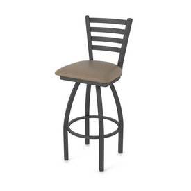 410 Jackie Swivel Stool with Pewter Finish and Canter Earth Seat