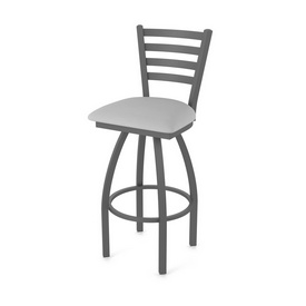 410 Jackie Swivel Stool with Pewter Finish and Canter Folkstone Grey Seat