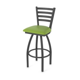 410 Jackie Swivel Stool with Pewter Finish and Canter Kiwi Green Seat