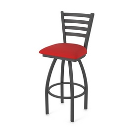 410 Jackie Swivel Stool with Pewter Finish and Canter Red Seat