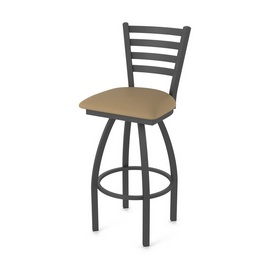 410 Jackie Swivel Stool with Pewter Finish and Canter Sand Seat