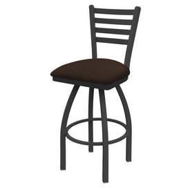 410 Jackie Swivel Stool with Pewter Finish and Rein Coffee Seat