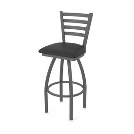 410 Jackie Swivel Stool with Pewter Finish and Black Vinyl Seat