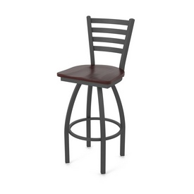 410 Jackie Swivel Stool with Pewter Finish and Dark Cherry Maple Seat