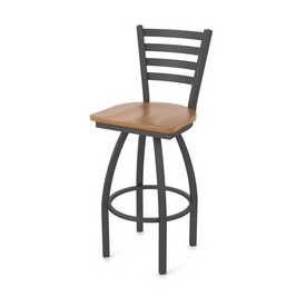 410 Jackie Swivel Stool with Pewter Finish and Medium Maple Seat
