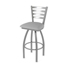 410 Jackie Swivel Stool with Stainless Finish and Canter Folkstone Grey Seat
