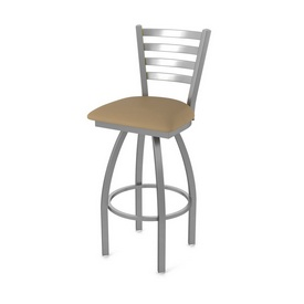 410 Jackie Swivel Stool with Stainless Finish and Canter Sand Seat