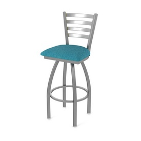 410 Jackie Swivel Stool with Stainless Finish and Graph Tidal Seat