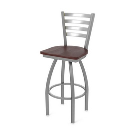 410 Jackie Swivel Stool with Stainless Finish and Dark Cherry Oak Seat