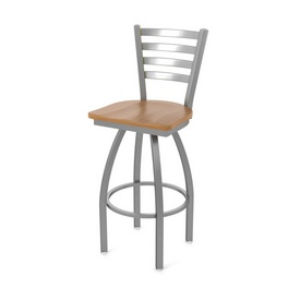 410 Jackie Swivel Stool with Stainless Finish and Medium Maple Seat