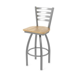 410 Jackie Swivel Stool with Stainless Finish and Natural Oak Seat