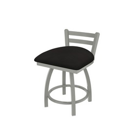 """411 Jackie 18"""" Low Back Swivel Vanity Stool with Anodized Nickel Finish and Canter Espresso Seat"""